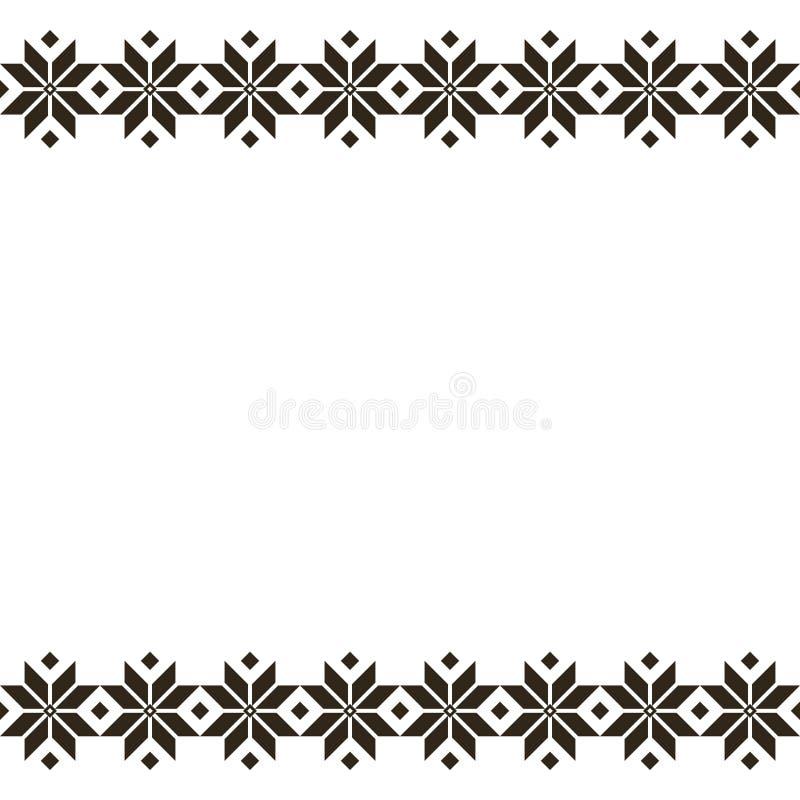 Μαύρη λευκορωσική ιερή εθνική διακόσμηση, άνευ ραφής σχέδιο επίσης corel σύρετε το διάνυσμα απεικόνισης Σλοβένικη παραδοσιακή δια απεικόνιση αποθεμάτων
