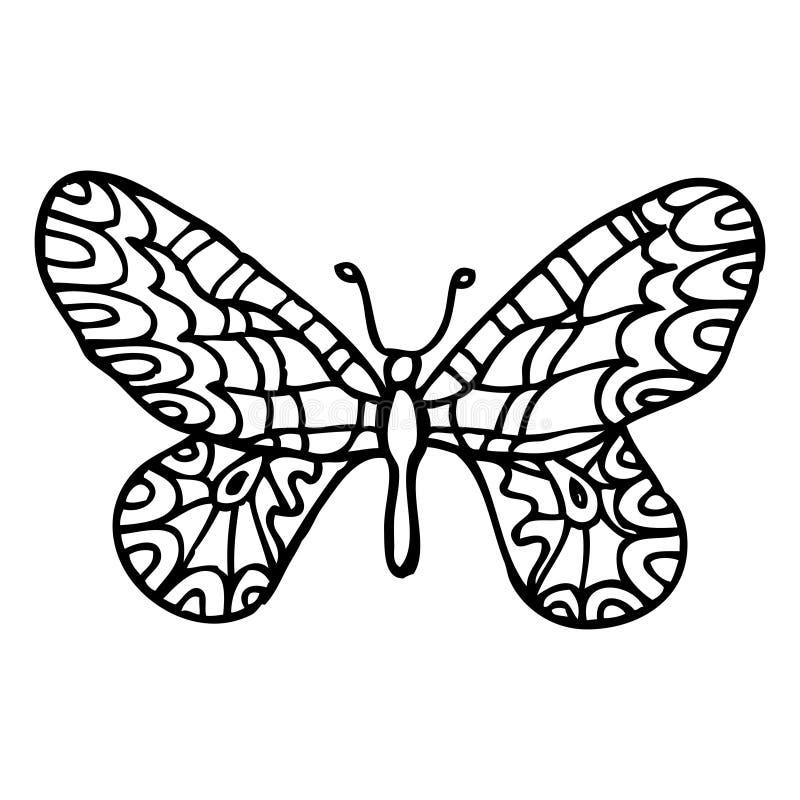 Μαύρη διακοσμητική περίκομψη πεταλούδα doodle που απομονώνεται στο άσπρο backg ελεύθερη απεικόνιση δικαιώματος