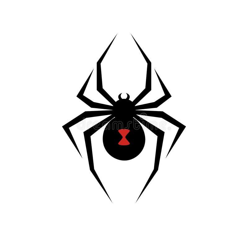 Μαύρη διανυσματική απεικόνιση λογότυπων αραχνών χηρών απεικόνιση αποθεμάτων