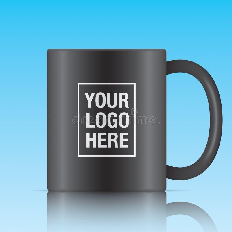 Μαύρη διανυσματική κούπα καφέ ελεύθερη απεικόνιση δικαιώματος