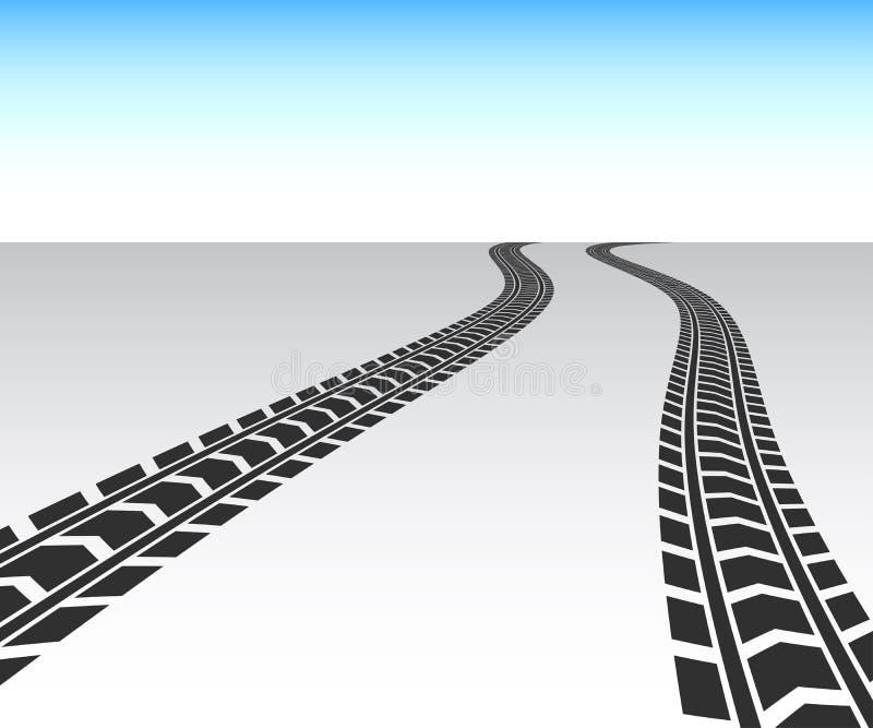 Μαύρη διαδρομή ροδών φορτηγών απεικόνιση αποθεμάτων