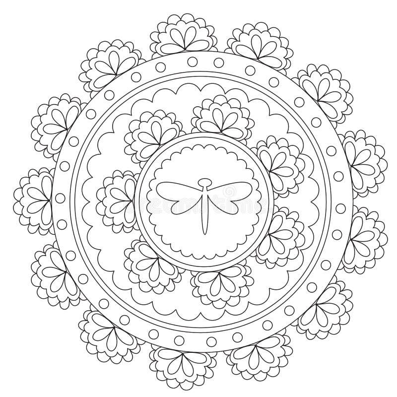 Μαύρη λιβελλούλη Mandala χρωματισμού ελεύθερη απεικόνιση δικαιώματος
