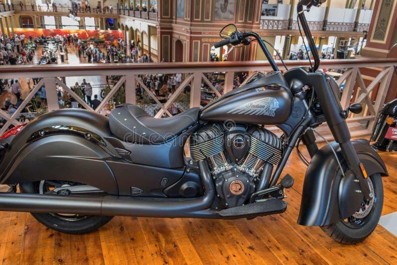 Μαύρη ινδική μοτοσικλέτα σε Motorclassica στοκ εικόνες
