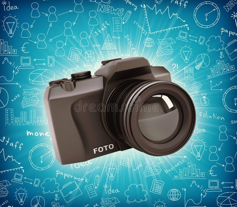 Μαύρη κάμερα διανυσματική απεικόνιση