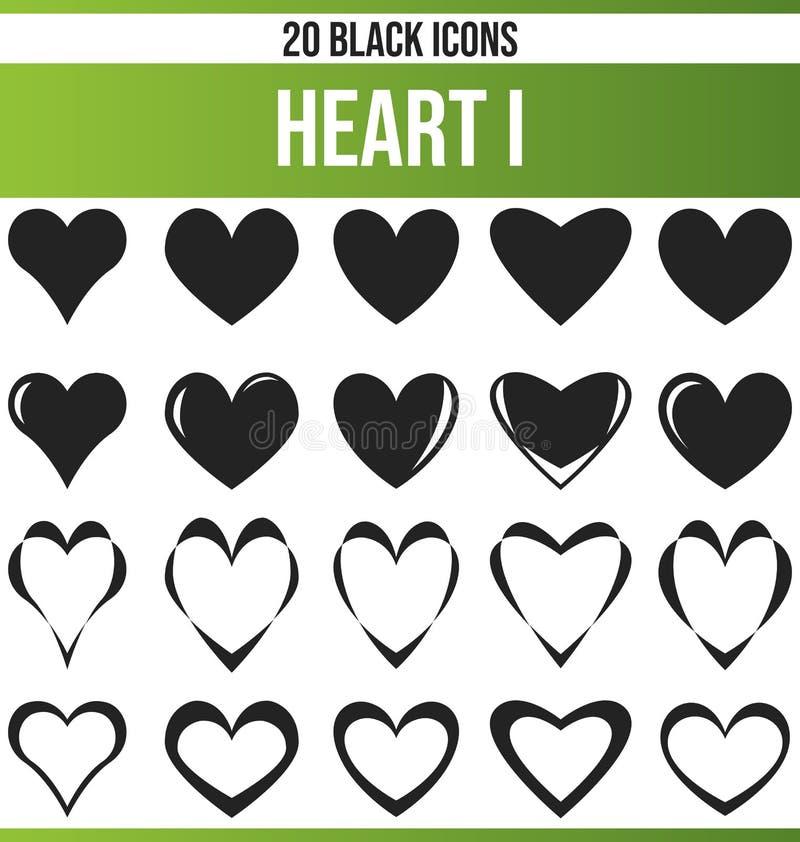 Μαύρη καθορισμένη καρδιά Ι εικονιδίων ελεύθερη απεικόνιση δικαιώματος