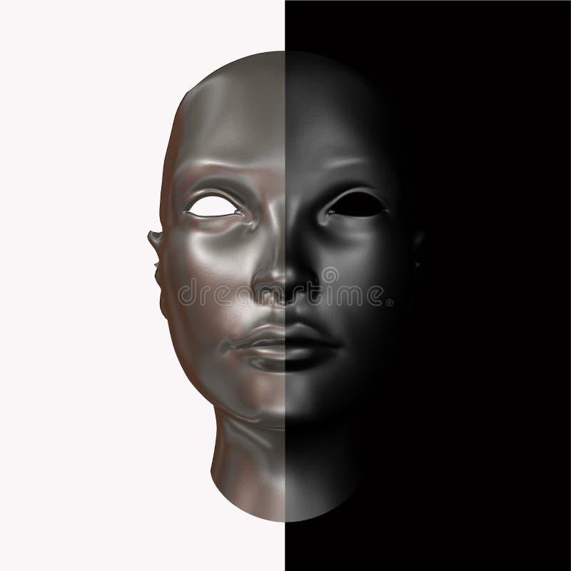 Μαύρη και ασημένια επικεφαλής τρισδιάστατη απόδοση στοκ φωτογραφία με δικαίωμα ελεύθερης χρήσης