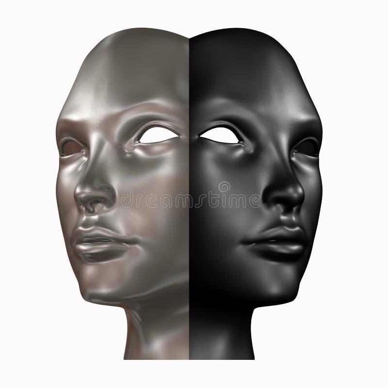 Μαύρη και ασημένια επικεφαλής τρισδιάστατη απόδοση στοκ εικόνες