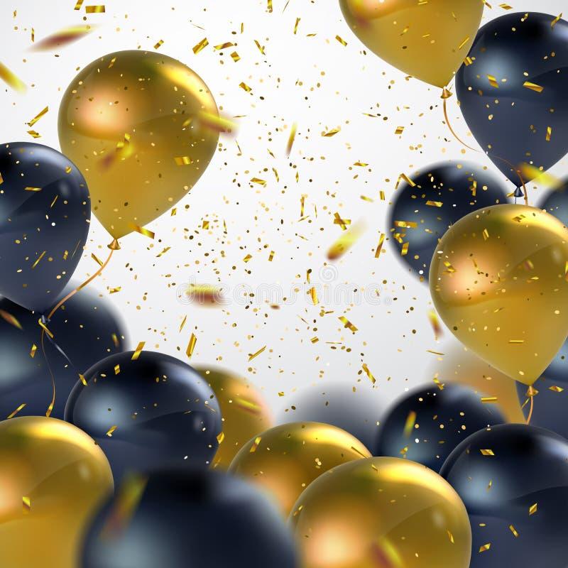 Μαύρη και χρυσή δέσμη μπαλονιών διανυσματική απεικόνιση