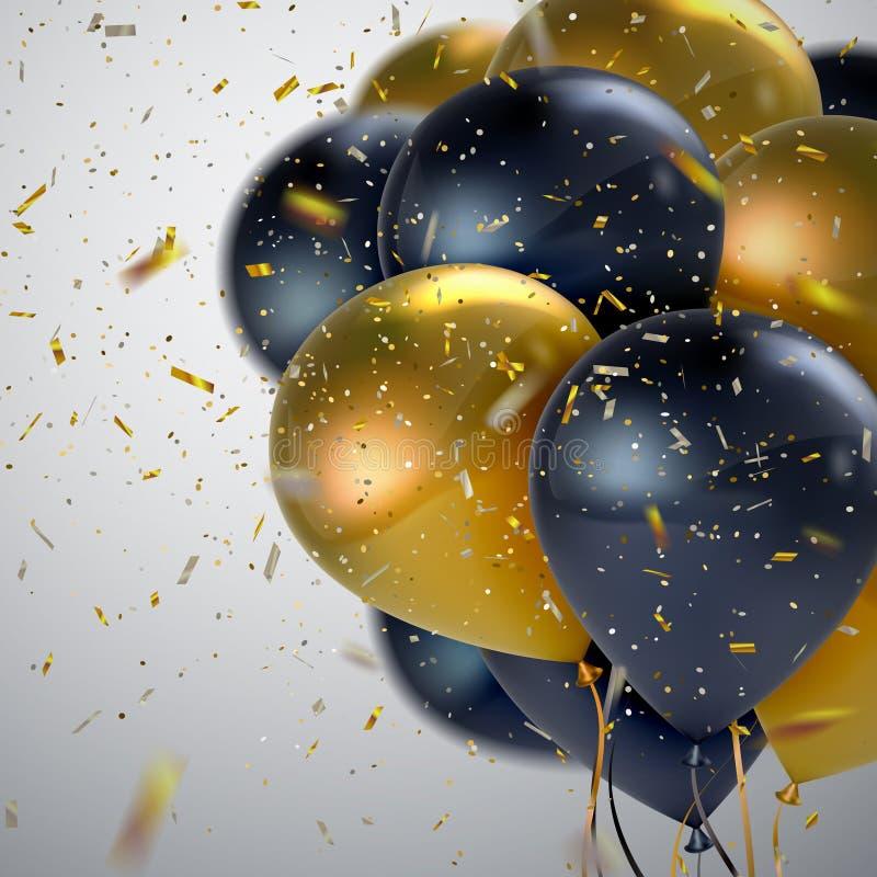 Μαύρη και χρυσή δέσμη μπαλονιών απεικόνιση αποθεμάτων
