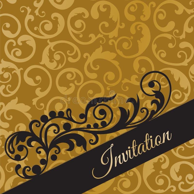 Μαύρη και χρυσή κάρτα πρόσκλησης πολυτέλειας με τους στροβίλους διανυσματική απεικόνιση