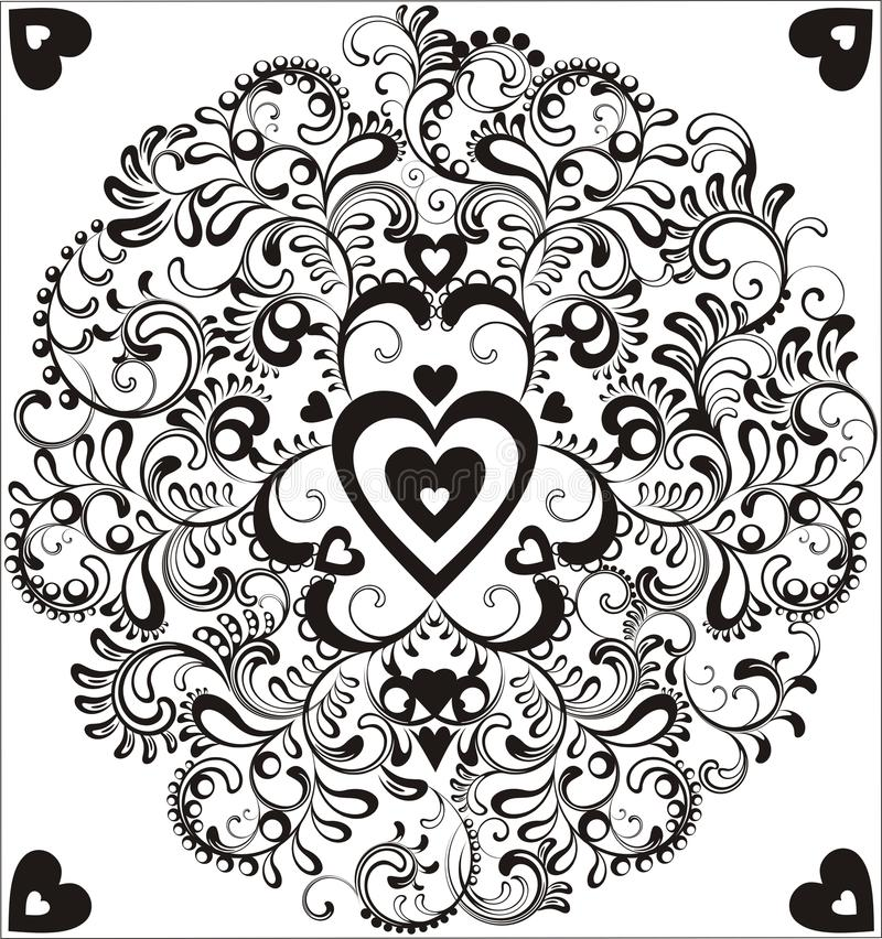 μαύρη καρδιά κύκλων διακοσμητική διανυσματική απεικόνιση