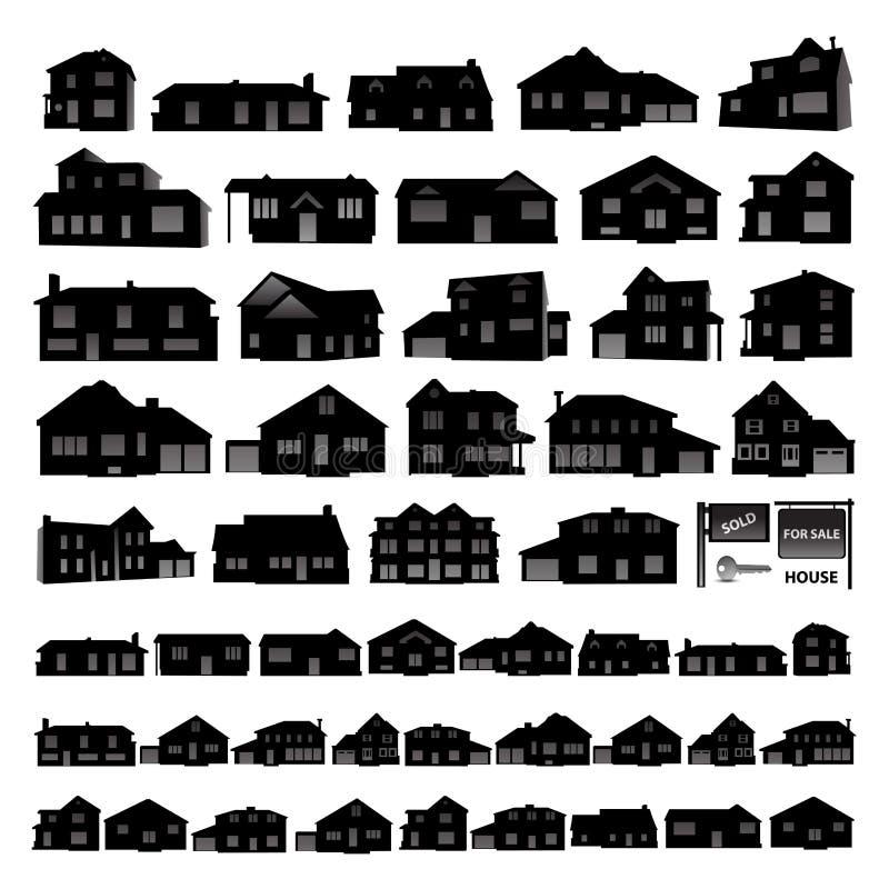 Μαύρη κατοικημένη σκιαγραφία σπιτιών που απομονώνεται στο λευκό απεικόνιση αποθεμάτων