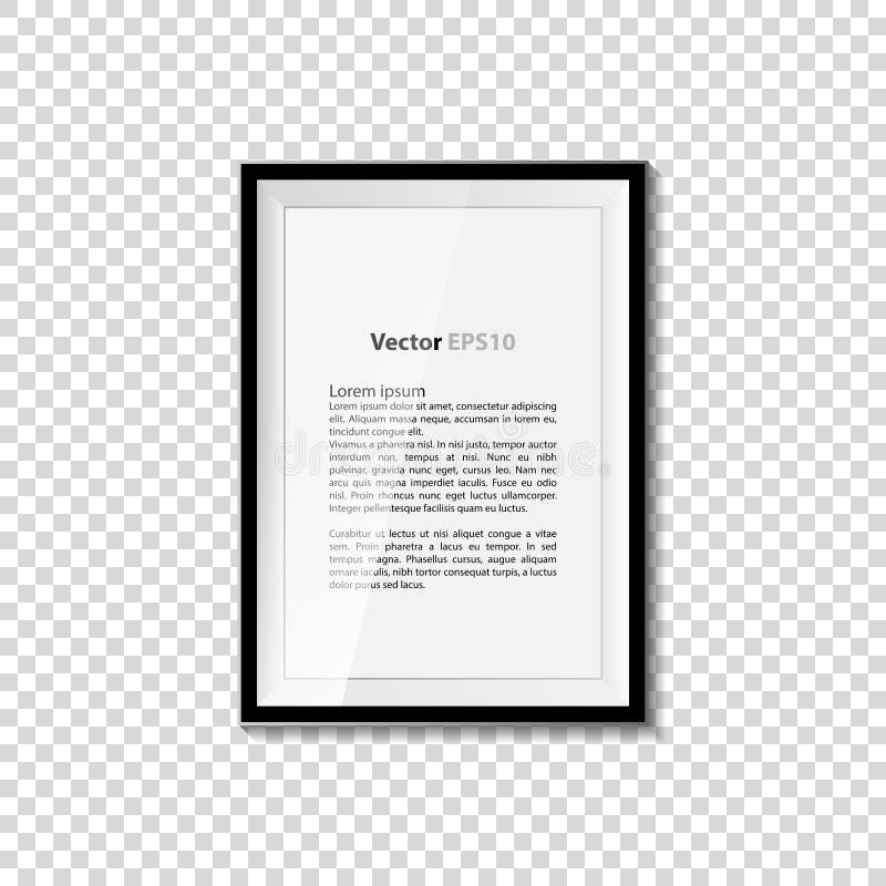 Μαύρη κενή εικόνα στο διαφανή τοίχο Αφίσα προτύπων πλαισίων Σύνολο πλαισίων εικόνων διάνυσμα ελεύθερη απεικόνιση δικαιώματος
