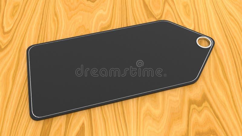 Μαύρη κενή τιμή στο ξύλινο γραφείο απεικόνιση αποθεμάτων