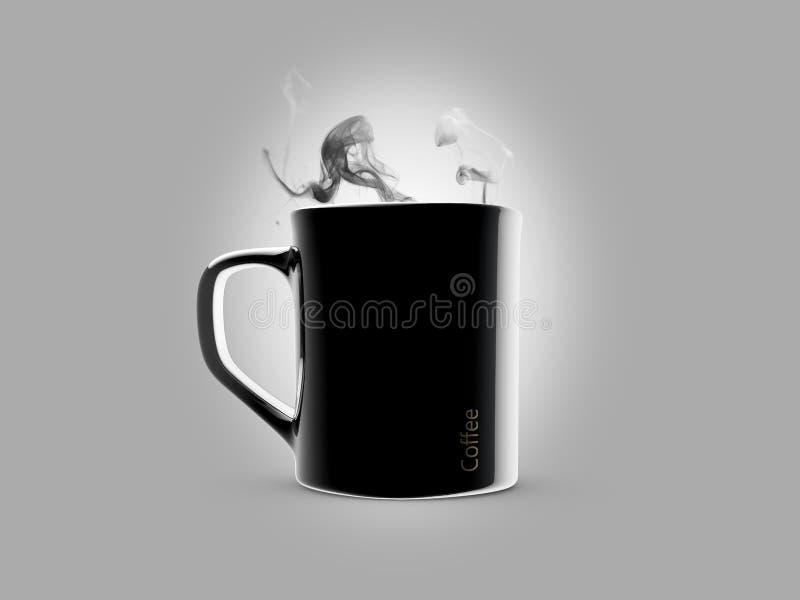 Μαύρη κεραμική κούπα καφέ απομονωμένος σε έναν γκρίζο απεικόνιση αποθεμάτων
