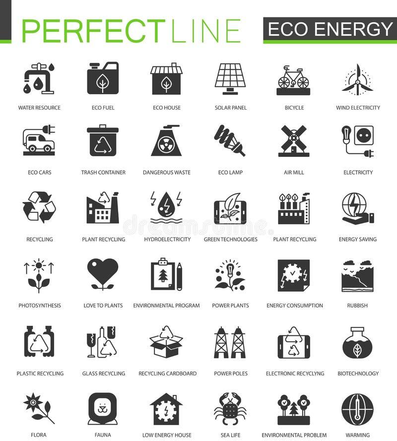 Μαύρη κλασική ανανεώσιμη ενέργεια eco Πράσινα εικονίδια τεχνολογίας καθορισμένα διανυσματική απεικόνιση