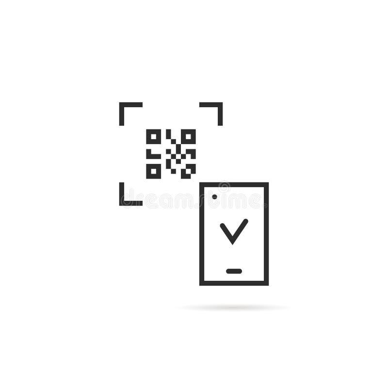 Μαύρη λεπτή ανίχνευση κώδικα γραμμών qr στο άσπρο υπόβαθρο ελεύθερη απεικόνιση δικαιώματος