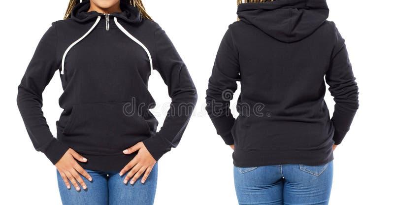 Μαύρη μακριά μπλούζα μανικιών της Heather σε μια νέα αμερικανική γυναίκα afro στα σορτς, μέτωπο και πλάτη, πρότυπο Μαύρη χλεύη κο στοκ εικόνες με δικαίωμα ελεύθερης χρήσης