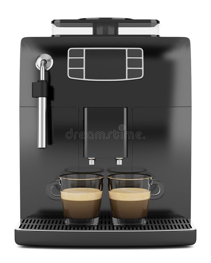 Μαύρη μηχανή καφέ δύο φλυτζάνια που απομονώνονται με στο λευκό διανυσματική απεικόνιση