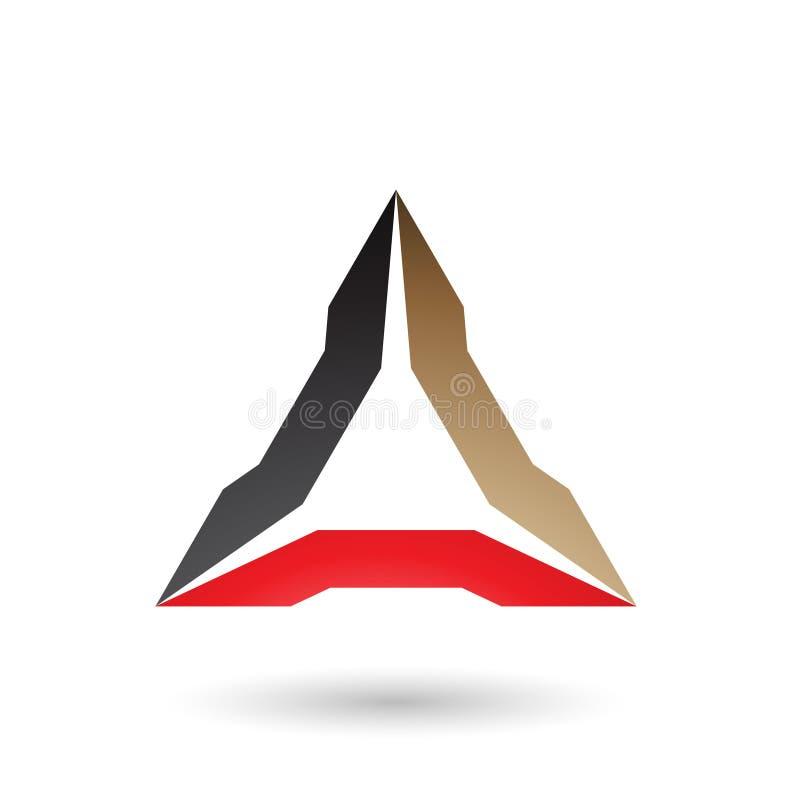 Μαύρη μπεζ και κόκκινη Spiked διανυσματική απεικόνιση τριγώνων ελεύθερη απεικόνιση δικαιώματος