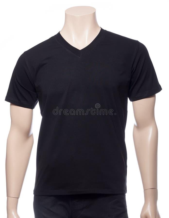 Μαύρη μπλούζα βαμβακιού shortsleeve σε ένα μανεκέν που απομονώνεται στοκ φωτογραφίες με δικαίωμα ελεύθερης χρήσης