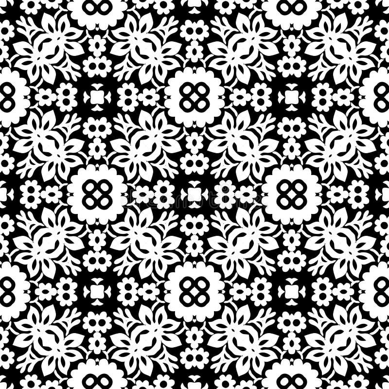 Μαύρη ν άσπρη Χριστουγέννων απεικόνιση υποβάθρου σχεδίων λουλουδιών άνευ ραφής διανυσματική απεικόνιση