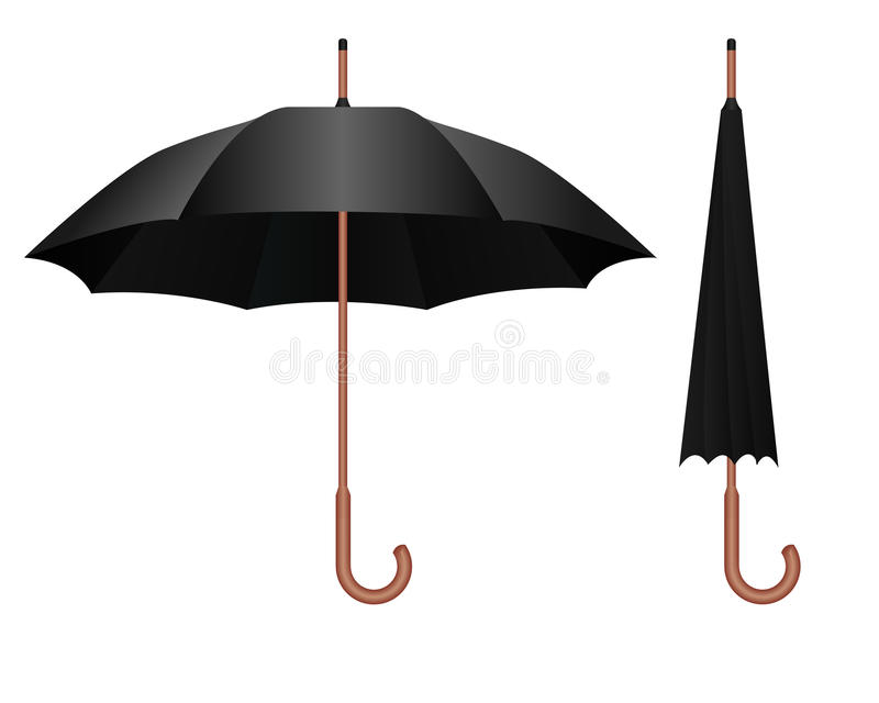 μαύρη ομπρέλα διανυσματική απεικόνιση