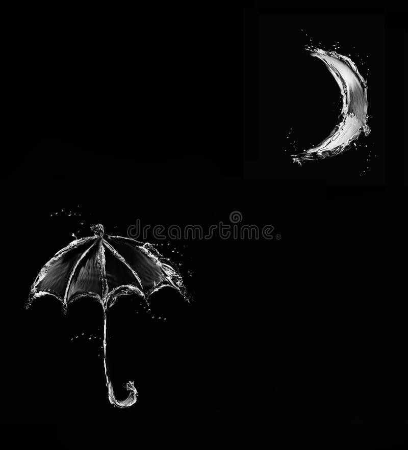 Μαύρη ομπρέλα νερού στο σεληνόφωτο διανυσματική απεικόνιση