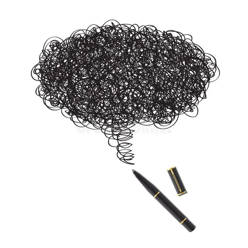 μαύρη πέννα μελανιού σχεδίω& απεικόνιση αποθεμάτων