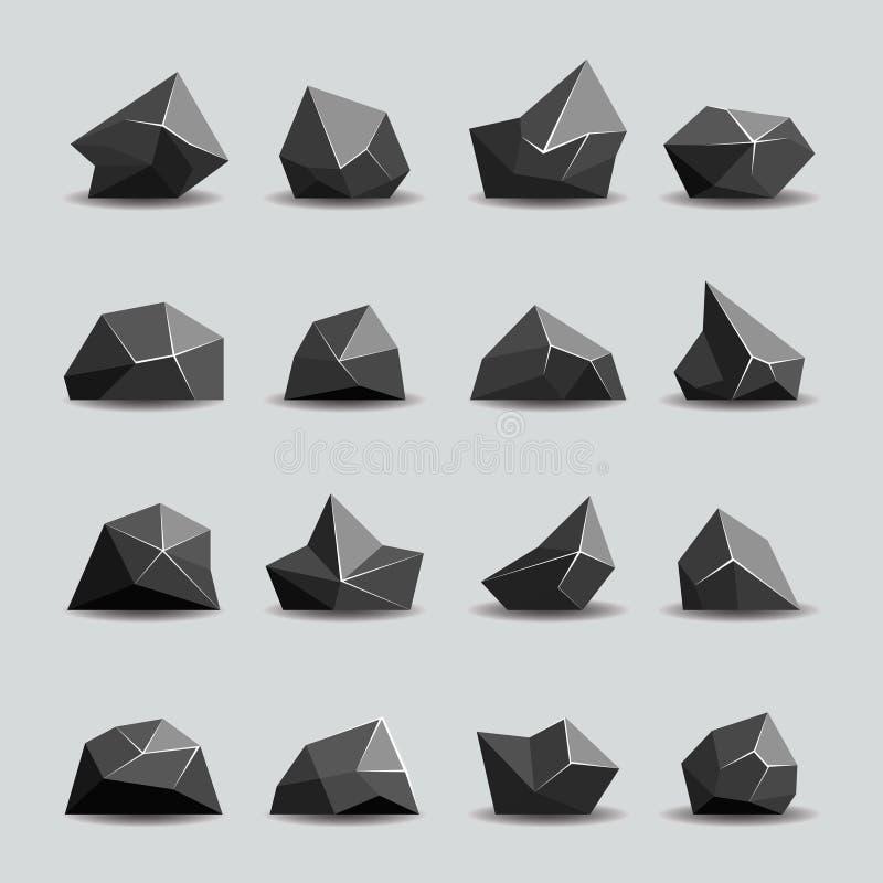 Μαύρη πέτρα πολυγώνων και πολυ βράχοι απεικόνιση αποθεμάτων
