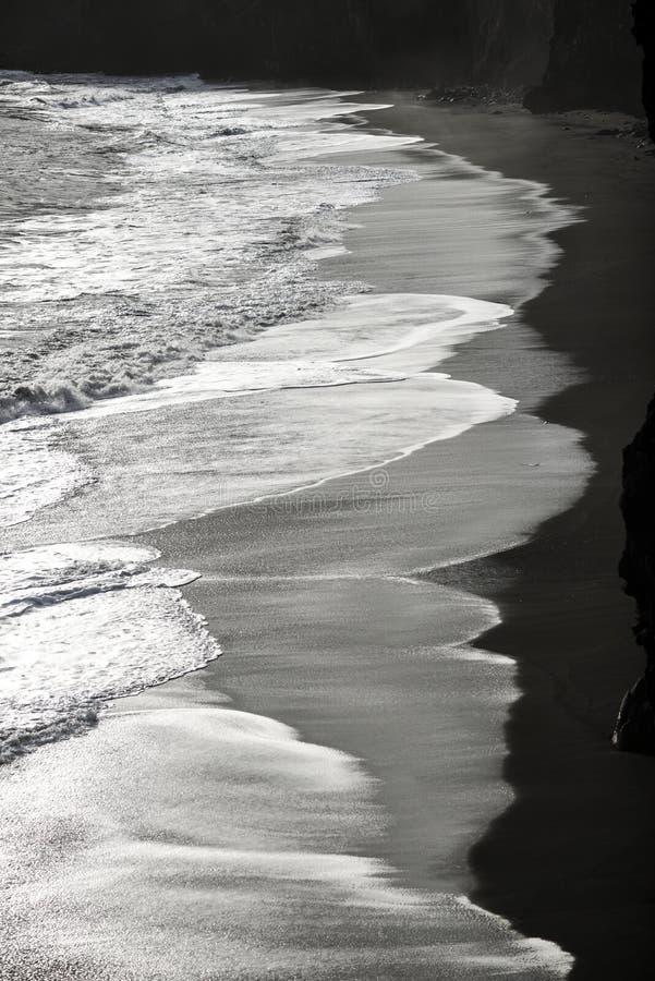 Μαύρη παραλία με τα κύματα του Ατλαντικού Ωκεανού στην Ισλανδία στοκ εικόνα