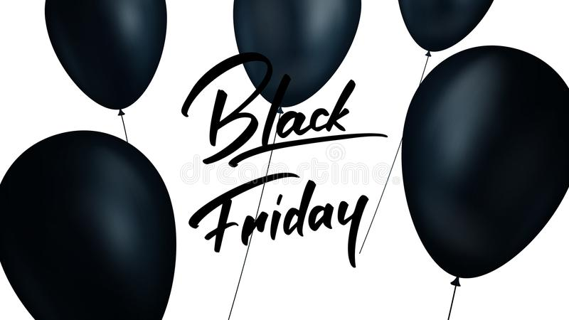 μαύρη Παρασκευή Έμβλημα με τα ρεαλιστικά μαύρα μπαλόνια και καθιερώνον τη μόδα Μαύρο υπόβαθρο πώλησης Παρασκευής απεικόνιση αποθεμάτων