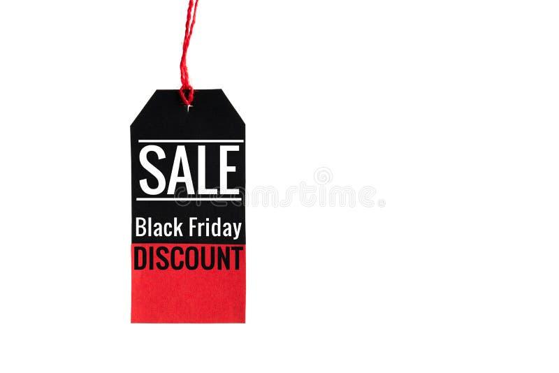 μαύρη Παρασκευή μαύρη και κόκκινη ετικέττα πώλησης στο άσπρο υπόβαθρο στοκ εικόνες