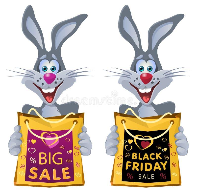 μαύρη Παρασκευή Το αστείο κουνέλι κρατά την τσάντα αγορών από την πώληση διανυσματική απεικόνιση