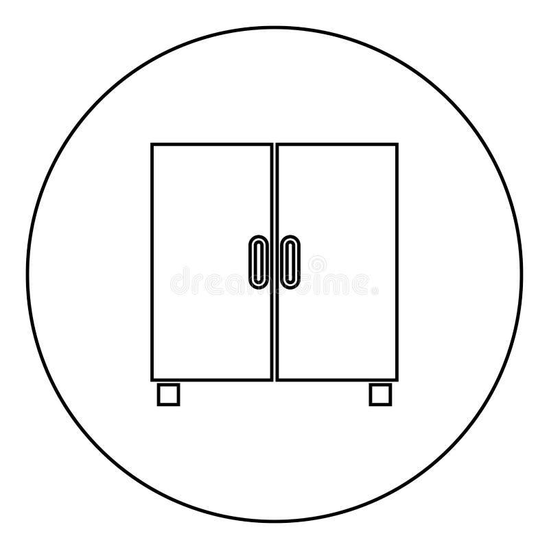 Μαύρη περίληψη εικονιδίων ντουλαπιών ή γραφείων στην εικόνα κύκλων διανυσματική απεικόνιση