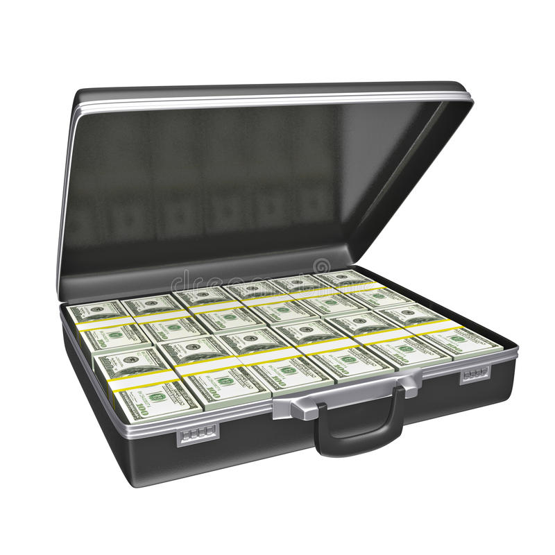Μαύρη περίπτωση με τα χρήματα ελεύθερη απεικόνιση δικαιώματος