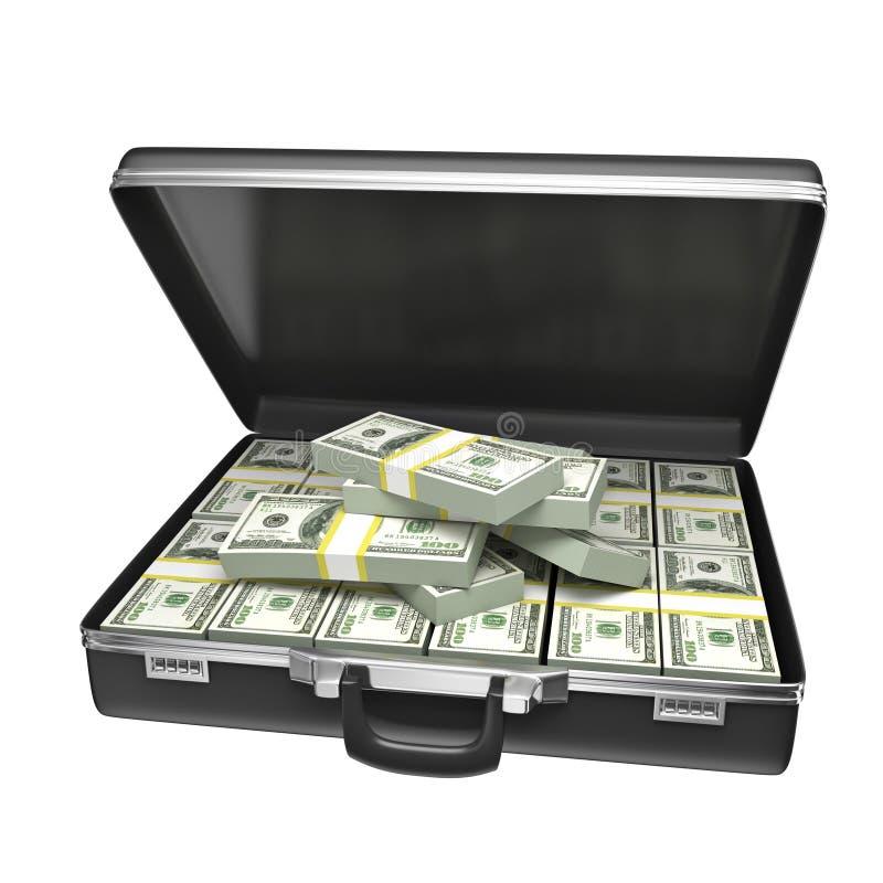 Μαύρη περίπτωση με τα χρήματα απεικόνιση αποθεμάτων