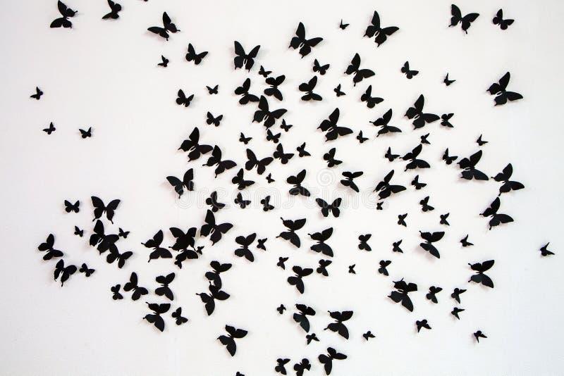 Μαύρη πεταλούδα σε ένα άσπρο υπόβαθρο στοκ εικόνες με δικαίωμα ελεύθερης χρήσης