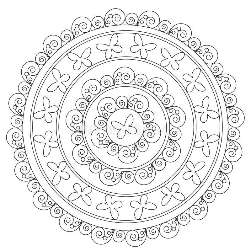 Μαύρη πεταλούδα Mandala χρωματισμού απεικόνιση αποθεμάτων