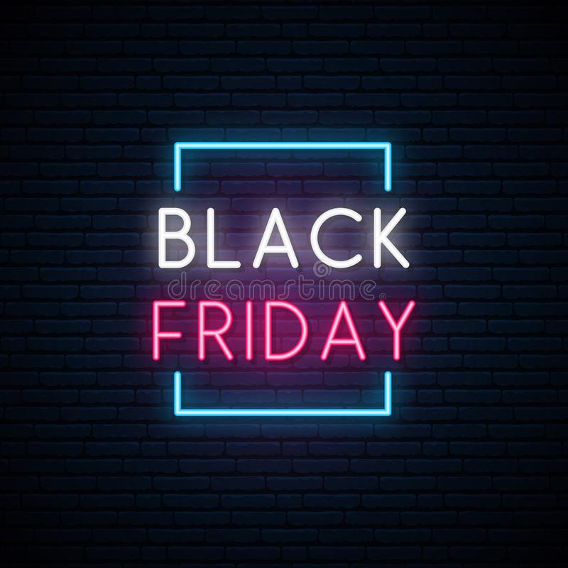 Μαύρη πινακίδα νέου Παρασκευής Φωτεινό σημάδι πώλησης διανυσματική απεικόνιση