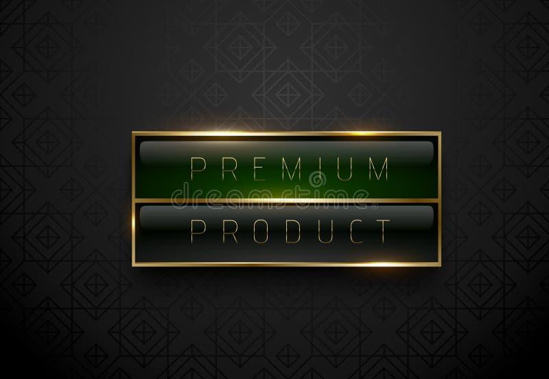 Μαύρη πράσινη ετικέτα προϊόντων ασφαλίστρου με το χρυσό πλαίσιο στο μαύρο γεωμετρικό υπόβαθρο Σκοτεινό πρότυπο λογότυπων πολυτέλε διανυσματική απεικόνιση
