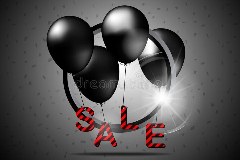 Μαύρη πώληση Παρασκευής με τα μαύρους μπαλόνια και τον κύκλο επίσης corel σύρετε το διάνυσμα απεικόνισης διανυσματική απεικόνιση