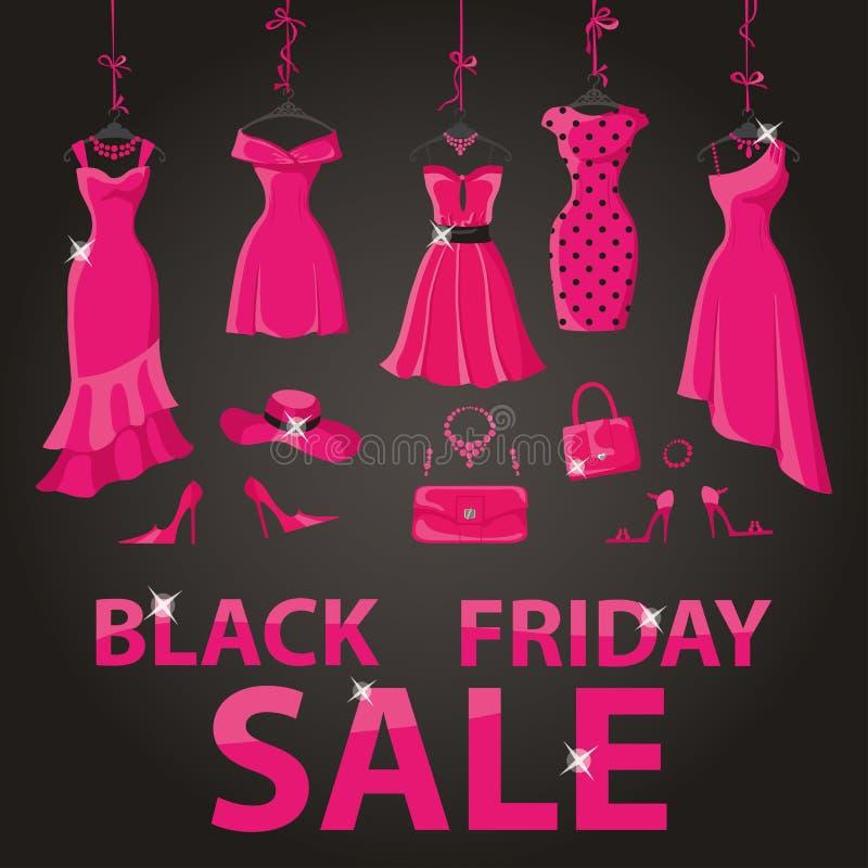 μαύρη πώληση Παρασκευής Ρόδινα φορέματα κομμάτων, εξαρτήματα ελεύθερη απεικόνιση δικαιώματος