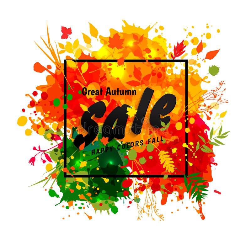 Μαύρη πώληση φθινοπώρου κειμένων μεγάλη στο πλαίσιο στους πολύχρωμους λεκέδες backgr ελεύθερη απεικόνιση δικαιώματος