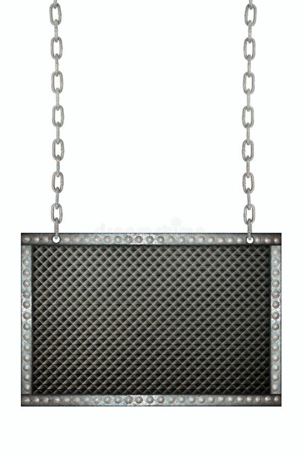 Μαύρη πλαστική ένωση πινακίδων στις αλυσίδες που απομονώνονται στοκ εικόνα με δικαίωμα ελεύθερης χρήσης