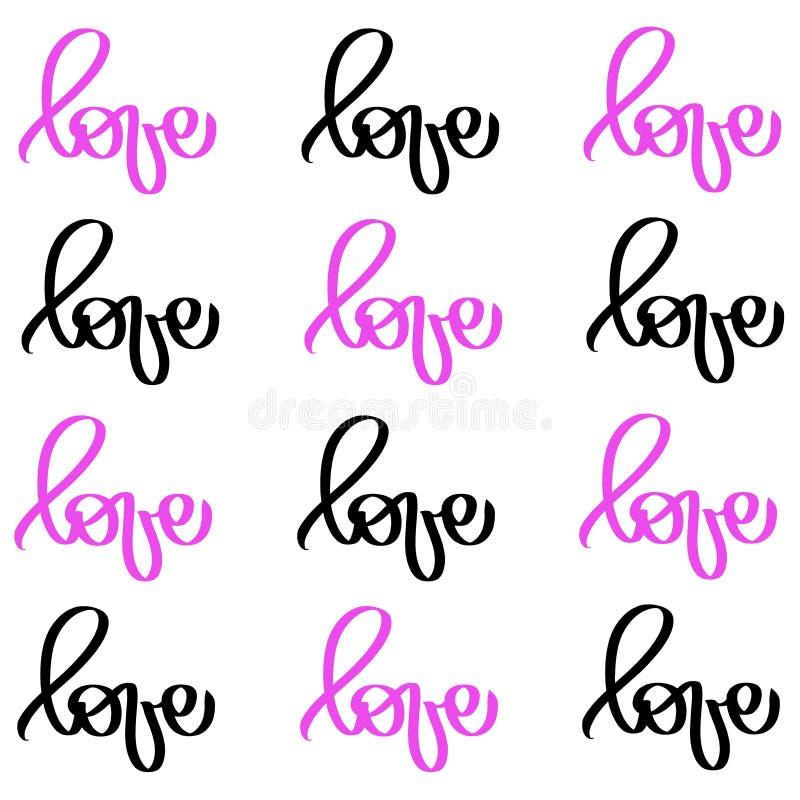 Μαύρη ρόδινη αγάπη λέξης καλλιγραφίας Διανυσματική συρμένη χέρι εγγραφή ημέρας βαλεντίνων Κάρτα βαλεντίνων σχεδίου διακοπών καρδι ελεύθερη απεικόνιση δικαιώματος