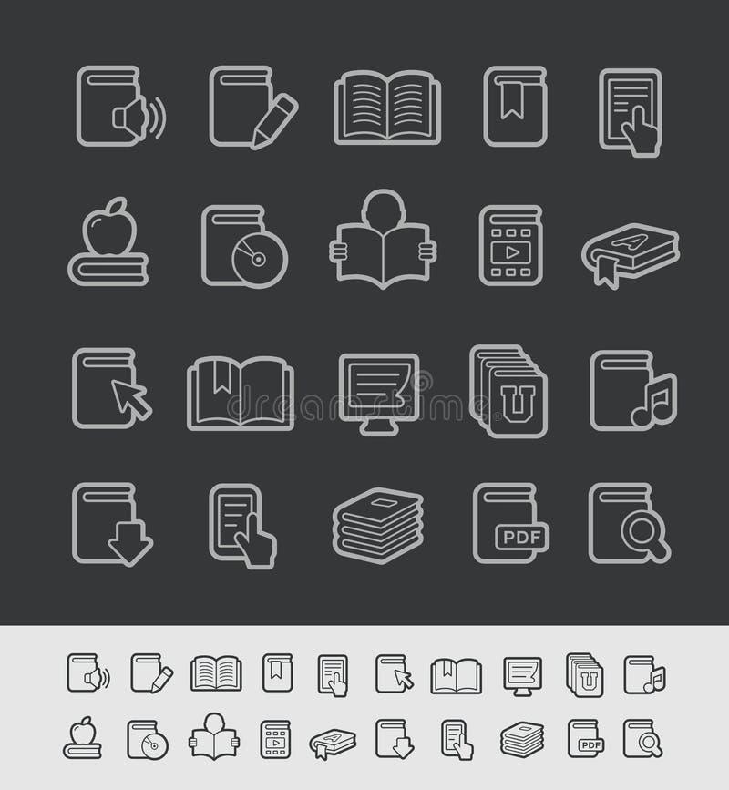 Μαύρη σειρά γραμμών του //εικονιδίων βιβλίων διανυσματική απεικόνιση
