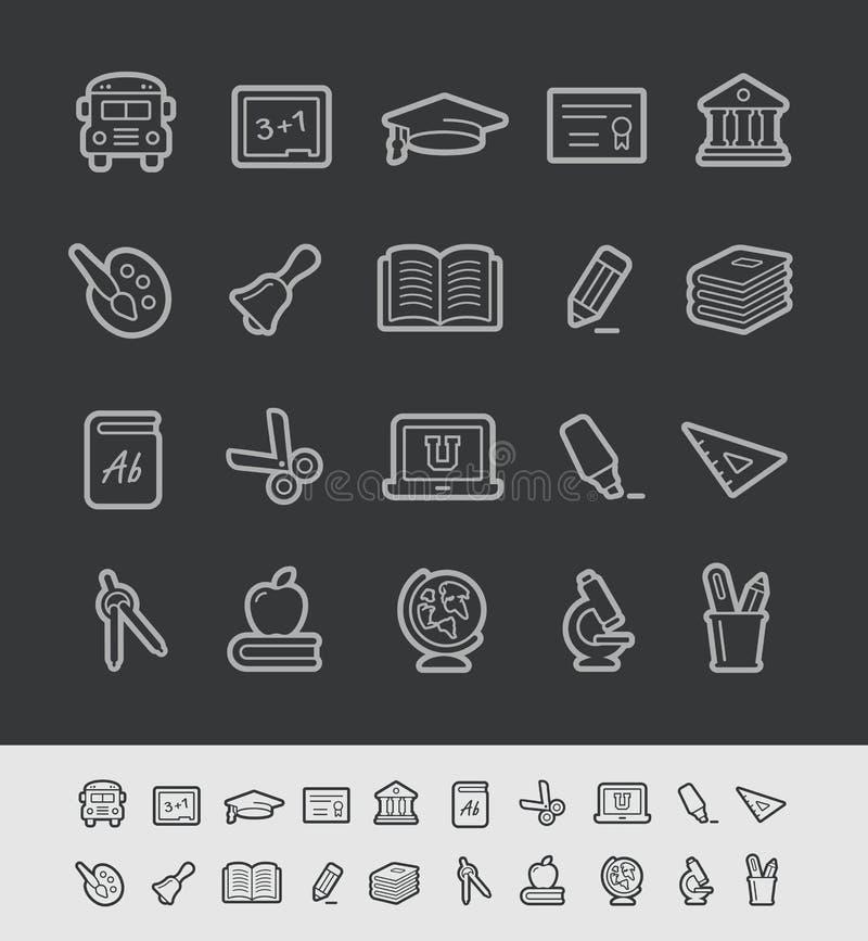 Μαύρη σειρά γραμμών του //εικονιδίων εκπαίδευσης ελεύθερη απεικόνιση δικαιώματος