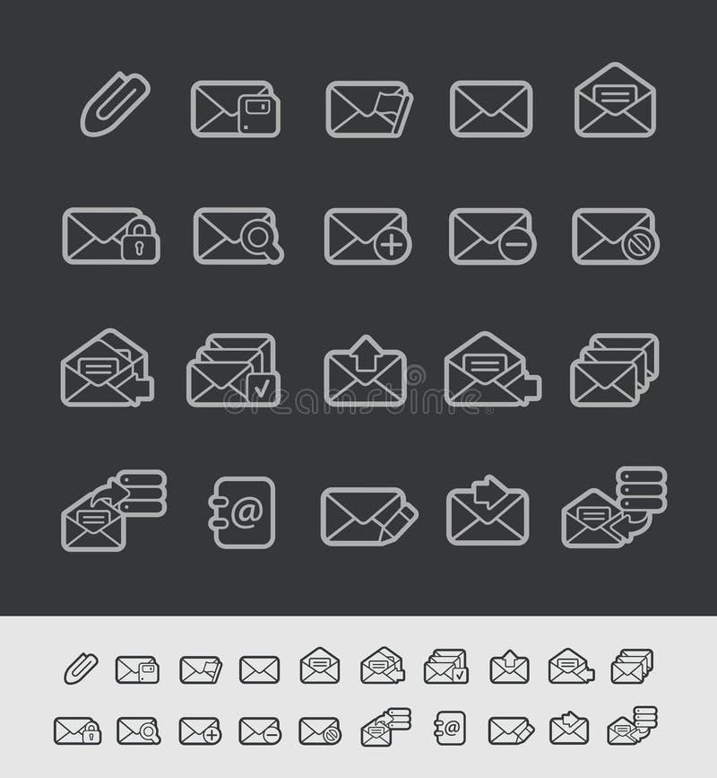 Μαύρη σειρά γραμμών του //εικονιδίων ηλεκτρονικού ταχυδρομείου ελεύθερη απεικόνιση δικαιώματος