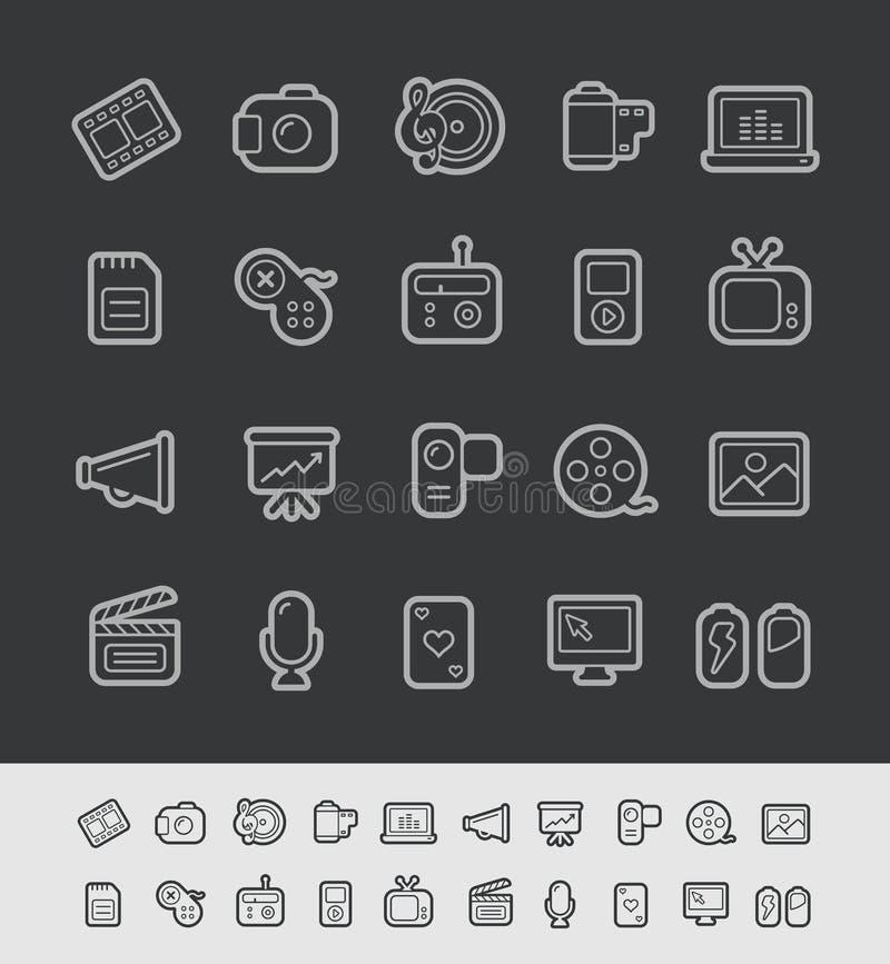 Μαύρη σειρά γραμμών του //εικονιδίων μέσων απεικόνιση αποθεμάτων